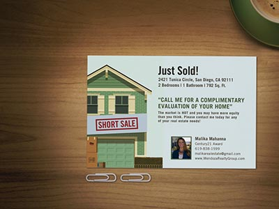 Real estate mailer on desk