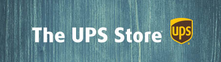 The UPS Store logo on a blue wood background