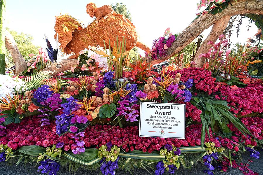 The UPS Store's 2020 Rose Parade float and sweepstakes award display