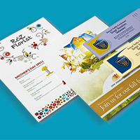 Sample printed marketing materials, including a postcard and flyer