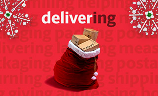 Bag of gifts with the word delivering above it