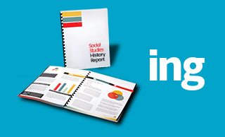 Sample printed social studies report for back to school printing next to the letters ING