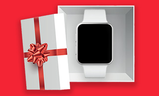 Red and white gift box with a smartwatch inside