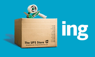 The UPS Store shipping box with a tape gun on top, next to the letters ING