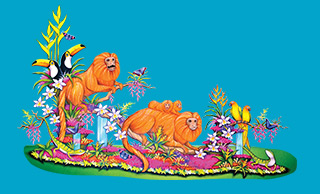 Cartoon rendering of The UPS Store's 2020 Rose Parade float, featuring monkeys, parrots, toucans and salamanders, all on a blue background