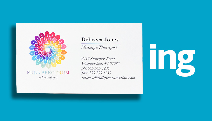 An example business card on a blue background next to the letters