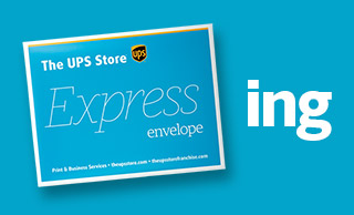 Blue The UPS Store Express envelope, on a blue background