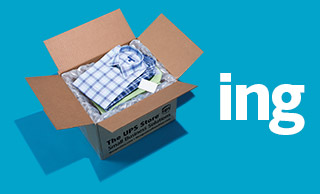 Long-sleeve shirts packed in a The UPS Store box on a blue background
