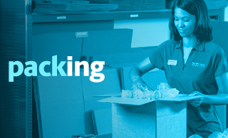 Male associate carefully packing an item for shipment, with a blue overlay and the word