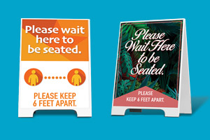 Sidewalk signs for COVID